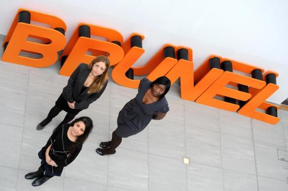 Funmi Obileye with two of her MBA classmates are proud Brunel MBA Ambassadors