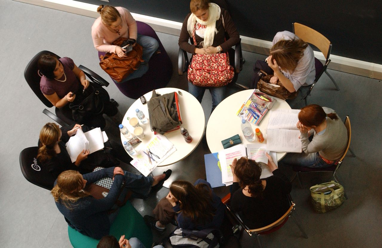 Students group study session