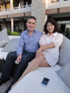 Mengru Han meet her former lecturer Dr Des Doran on a recent BBS visit to China