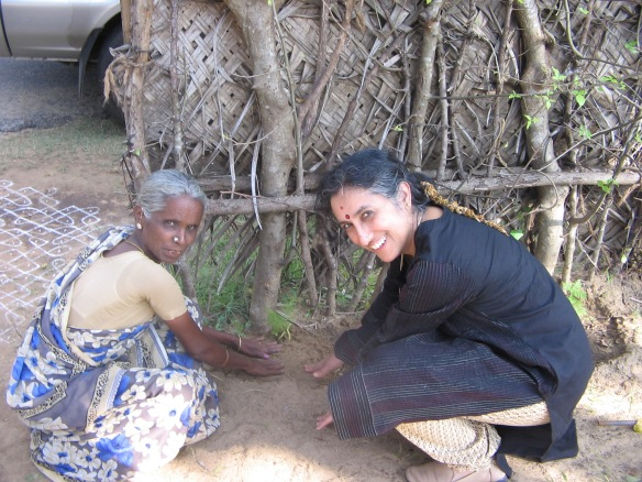 Prof Ramani works with a grandmother in India as part of her NGO project