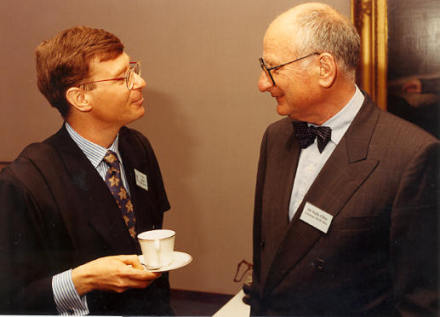 Prof Balmer (left) with Walter Olins (right)  in 1994